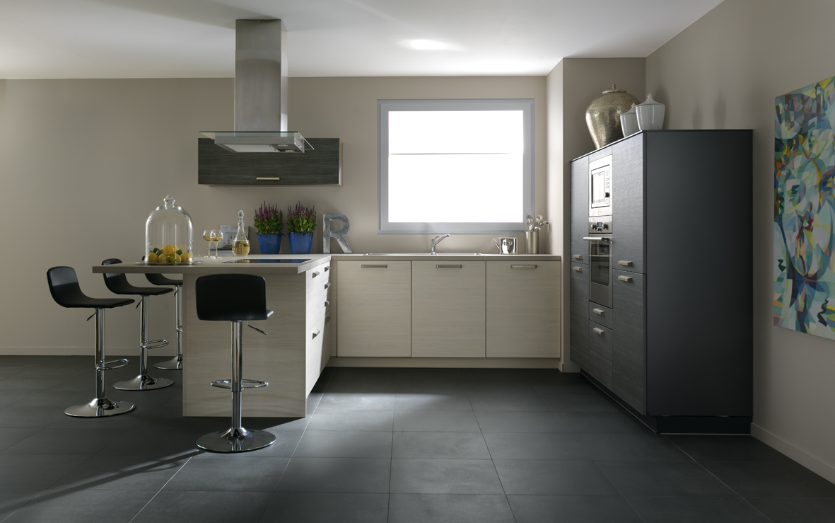 Cuisine blanc bois gris: un duplex en gris, bleu et bois sonia ...
